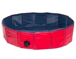2in1 XXL Hundeswimmingpool Eckpool & Rundpool, blau/rot