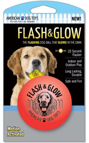 Beldorado Flesh und Glow Hundeball, blinkend, langlebig