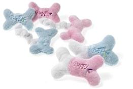 Knochen mit Squeeker in rosa oder blau