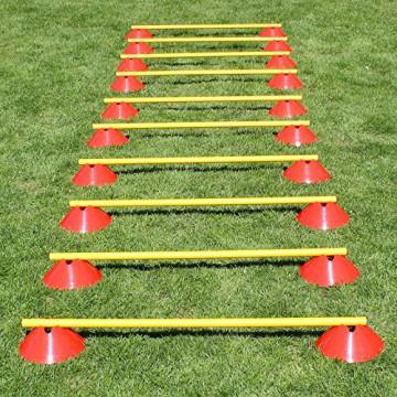 Agility Mini Hürden 10er Set, mit roten Markiermulden, gelb