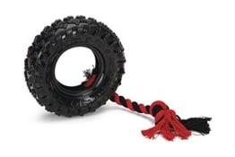 Beeztees TPR Reifen mit Seil, 15 cm, schwarz / rot