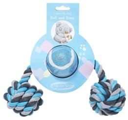 Spielzeug für Hunde - Spieltau mit zwei Knoten und Tennisball