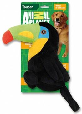 Der Plüsch Tukan ist ein bunter Spielzeug Vogel. Er ist ein lustig aussehender Vogel. Er besteht aus weichem Plüsch und hat seine eigene Stimme.