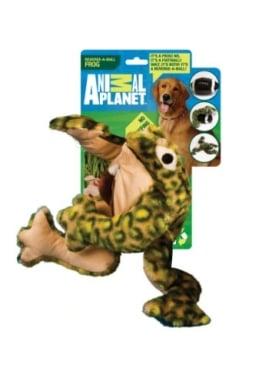 Der Animal Planet Plüsch Frosch ist ein lustig aussehendes Hundespielzeug aus weichem Plüsch. Er ist in grüner und brauner Farbgebung gehalten.