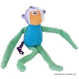 Der Affe Tipsi ist ein bunter, weicher Plüschgefährte für den Hund. Mit einem Quietscher und Knisterelementen macht er beim Spielen Geräusche.