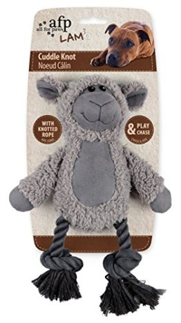 Das Cuddle Rope mit Lammfell ist ein niedliches Schaf aus weichem Plüschmaterial. Beim Drücken ertönt seine Piepsstimme. Ein kuscheliger Freund.