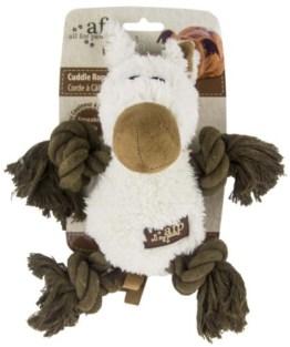 Das Cuddle Rope Pferd ist ein Plüschspielzeug mit Beinen aus Seil. Das ist prima zum darauf herumkauen und zum Spielen und Toben.