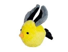 Der Nobby Plüsch Vogel mit Rassel ist mit einem Körper aus einem Tennisball bestehend gefertigt. Er hat eine Rassel, mit der er den Hund motiviert.