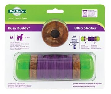Der PetSafe Busy Buddy Ultra Stratos ist ein hervorragendes Kauspielzeug. Die eingearbeiteten Leckerlie-Ringe werden den Hund lange beschätfigen.