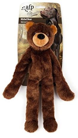 Der große Bär von Woodland Classic ist aus weichem Plüsch gefertigt. Arme und Beine haben im Innern stabile Seile, das macht den Bären so robust.