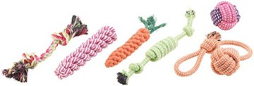10er-Set buntes Hundespielzeug aus Baumwolle